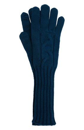 Женские кашемировые перчатки LORO PIANA синего цвета, арт. FAI8570 | Фото 1 (Материал: Кашемир, Шерсть)