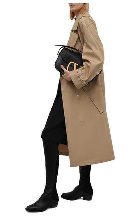 Женские ботфорты STUART WEITZMAN черного цвета, арт. S6118   Фото 2 (Высота голенища: Высокие; Каблук высота: Низкий; Подошва: Плоская; Материал внешний: Текстиль; Материал внутренний: Натуральная кожа; Каблук тип: Устойчивый)