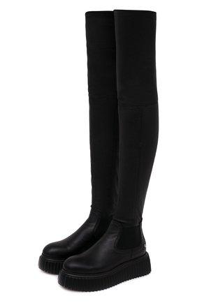 Женские кожаные ботфорты AGL черного цвета, арт. D751506PGK06891013   Фото 1 (Высота голенища: Высокие; Подошва: Платформа; Материал внутренний: Натуральная кожа; Каблук высота: Без каблука; Каблук тип: Устойчивый)