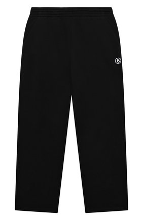 Детские хлопковые брюки MM6 черного цвета, арт. M60018-MM006 | Фото 1 (Материал внешний: Хлопок; Девочки Кросс-КТ: Брюки-спорт)