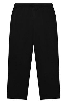 Детские хлопковые брюки MM6 черного цвета, арт. M60018-MM006 | Фото 2 (Материал внешний: Хлопок; Девочки Кросс-КТ: Брюки-спорт)