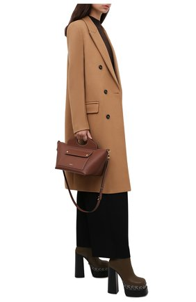 Женские кожаные ботильоны VERSACE хаки цвета, арт. 1001783/1A01733 | Фото 2 (Каблук высота: Высокий; Подошва: Платформа; Материал внутренний: Натуральная кожа; Каблук тип: Устойчивый)