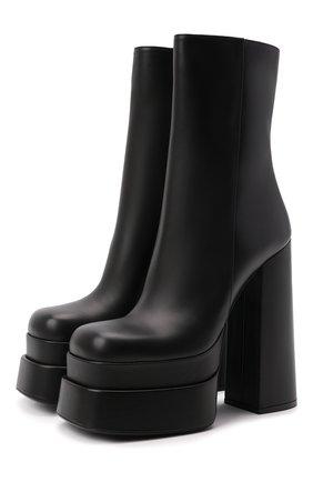 Женские кожаные ботильоны VERSACE черного цвета, арт. 1001783/DVT2P   Фото 1 (Каблук высота: Высокий; Подошва: Платформа; Материал внутренний: Натуральная кожа; Каблук тип: Устойчивый)