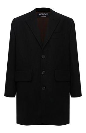 Мужской шерстяное пальто JACQUEMUS черного цвета, арт. 216C0001-1300 | Фото 1 (Длина (верхняя одежда): До середины бедра; Материал подклада: Хлопок; Рукава: Длинные; Материал внешний: Шерсть; Мужское Кросс-КТ: пальто-верхняя одежда; Стили: Минимализм)