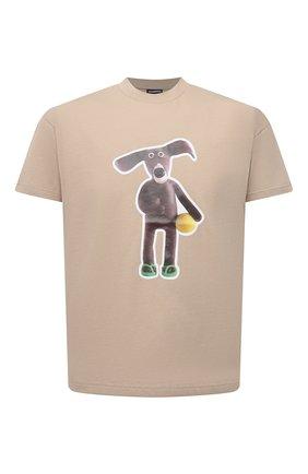 Мужская хлопковая футболка JACQUEMUS бежевого цвета, арт. 216JS109-2310 | Фото 1 (Рукава: Короткие; Материал внешний: Хлопок; Длина (для топов): Стандартные; Принт: С принтом; Стили: Гранж)
