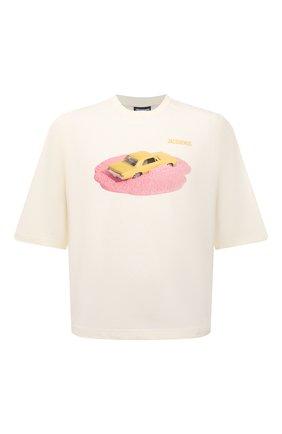 Мужская хлопковая футболка JACQUEMUS кремвого цвета, арт. 216JS105-2310 | Фото 1 (Рукава: Короткие; Материал внешний: Хлопок; Длина (для топов): Стандартные; Принт: С принтом; Стили: Гранж)