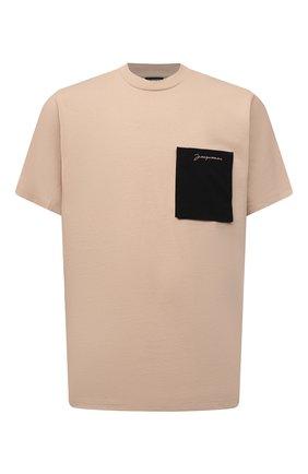 Мужская хлопковая футболка JACQUEMUS бежевого цвета, арт. 216JS004-2290 | Фото 1 (Длина (для топов): Стандартные; Материал внешний: Хлопок; Рукава: Короткие; Принт: Без принта; Стили: Минимализм)