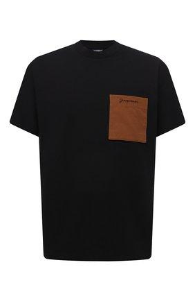 Мужская хлопковая футболка JACQUEMUS черного цвета, арт. 216JS004-2290 | Фото 1 (Материал внешний: Хлопок; Рукава: Короткие; Принт: Без принта; Стили: Минимализм; Длина (для топов): Стандартные)