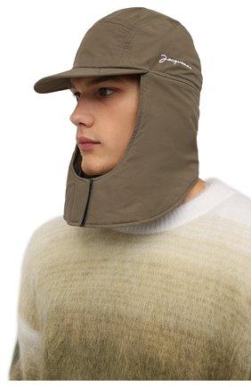 Мужская шапка-балаклава la cagoule JACQUEMUS хаки цвета, арт. 216AC203-5050 | Фото 2 (Материал: Синтетический материал, Хлопок, Текстиль)
