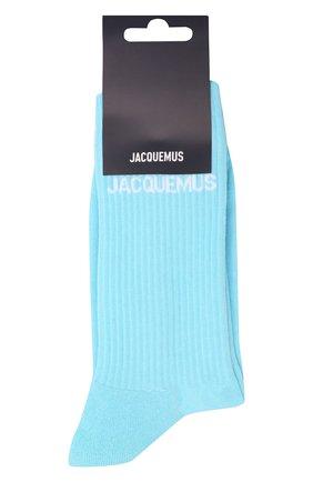 Мужские хлопковые носки JACQUEMUS бирюзового цвета, арт. 216AC003-5000   Фото 1 (Материал внешний: Хлопок; Кросс-КТ: бельё)