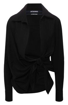Женская блузка из вискозы JACQUEMUS черного цвета, арт. 213SH002-1020 | Фото 1 (Рукава: Длинные; Длина (для топов): Стандартные; Материал внешний: Вискоза; Женское Кросс-КТ: Блуза-одежда; Принт: Без принта; Стили: Минимализм)
