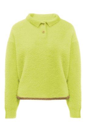 Женский пуловер JACQUEMUS светло-зеленого цвета, арт. 213KN601-2390 | Фото 1 (Материал внешний: Синтетический материал; Длина (для топов): Стандартные; Рукава: Длинные; Женское Кросс-КТ: Пуловер-одежда; Стили: Минимализм)