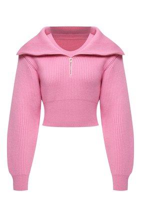 Женский шерстяной свитер JACQUEMUS светло-розового цвета, арт. 213KN501-2200 | Фото 1 (Длина (для топов): Укороченные; Рукава: Длинные; Материал внешний: Шерсть; Материал утеплителя: Шерсть; Женское Кросс-КТ: Свитер-одежда; Стили: Минимализм)
