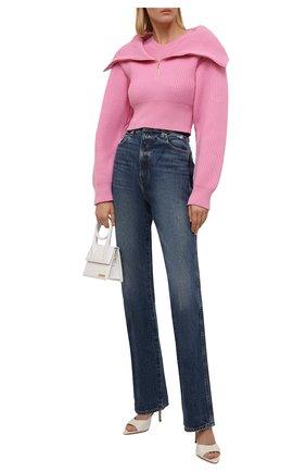 Женский шерстяной свитер JACQUEMUS светло-розового цвета, арт. 213KN501-2200 | Фото 2 (Длина (для топов): Укороченные; Рукава: Длинные; Материал внешний: Шерсть; Материал утеплителя: Шерсть; Женское Кросс-КТ: Свитер-одежда; Стили: Минимализм)