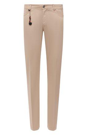 Мужские брюки из хлопка и шелка MARCO PESCAROLO бежевого цвета, арт. NERANOM18 4300 MP12   Фото 1 (Материал внешний: Хлопок; Длина (брюки, джинсы): Стандартные; Случай: Повседневный; Стили: Кэжуэл)