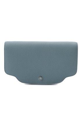 Женский клатч sesia LORO PIANA голубого цвета, арт. FAL6762   Фото 1 (Материал: Натуральная кожа; Женское Кросс-КТ: Клатч-клатчи; Размер: mini, small; Ремень/цепочка: На ремешке)