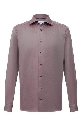 Мужская хлопковая сорочка ETON бордового цвета, арт. 1000 02346 | Фото 1 (Материал внешний: Хлопок; Рукава: Длинные; Длина (для топов): Стандартные; Случай: Формальный; Принт: Однотонные; Рубашки М: Slim Fit; Манжеты: На пуговицах; Воротник: Акула; Стили: Классический)