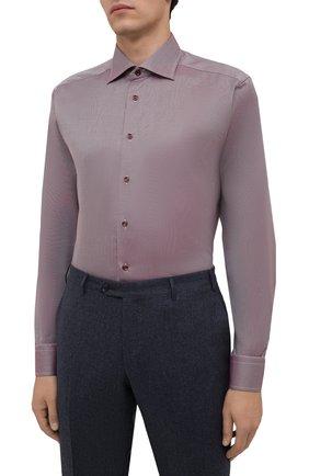 Мужская хлопковая сорочка ETON бордового цвета, арт. 1000 02346 | Фото 3 (Манжеты: На пуговицах; Рукава: Длинные; Воротник: Акула; Длина (для топов): Стандартные; Рубашки М: Slim Fit; Материал внешний: Хлопок; Стили: Классический; Случай: Формальный; Принт: Однотонные)