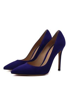 Женские замшевые туфли GIANVITO ROSSI синего цвета, арт. G28470.15RIC.CAMINDI | Фото 1 (Материал внутренний: Натуральная кожа; Каблук высота: Высокий; Подошва: Плоская; Каблук тип: Шпилька; Материал внешний: Замша)