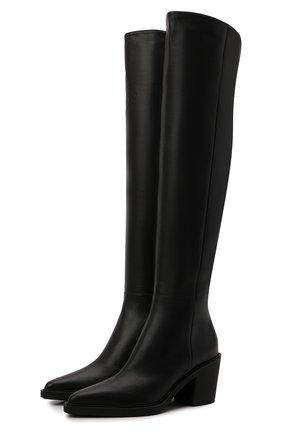 Женские кожаные ботфорты GIANVITO ROSSI черного цвета, арт. G80338.60G0M.VGINER0   Фото 1 (Каблук высота: Средний; Подошва: Платформа; Материал внутренний: Натуральная кожа; Высота голенища: Высокие; Каблук тип: Устойчивый)