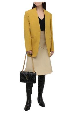 Женские кожаные ботфорты GIANVITO ROSSI черного цвета, арт. G80338.60G0M.VGINER0   Фото 2 (Каблук высота: Средний; Подошва: Платформа; Материал внутренний: Натуральная кожа; Высота голенища: Высокие; Каблук тип: Устойчивый)