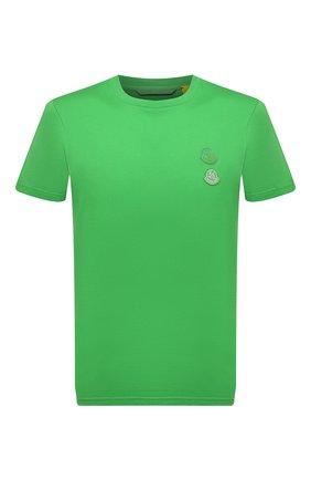 Мужская хлопковая футболка 2 moncler 1952 MONCLER GENIUS зеленого цвета, арт. G2-092-8C000-05-829FB | Фото 1 (Рукава: Короткие; Материал внешний: Хлопок; Длина (для топов): Стандартные; Принт: Без принта; Стили: Гранж)