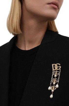 Женская брошь DOLCE & GABBANA золотого цвета, арт. WPN6X1/W1111 | Фото 2 (Материал: Металл)