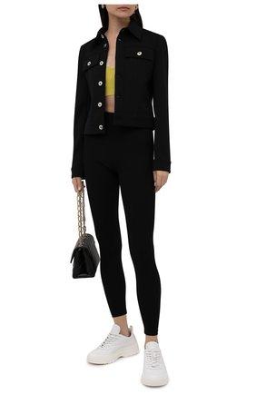 Женские леггинсы из вискозы VALENTINO черного цвета, арт. WB0MD03M6SR   Фото 2 (Длина (брюки, джинсы): Стандартные; Материал внешний: Вискоза; Стили: Кэжуэл; Женское Кросс-КТ: Леггинсы-одежда)