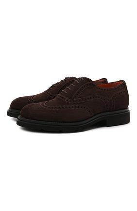 Мужские замшевые оксфорды SANTONI темно-коричневого цвета, арт. MCCG17820UM4IRPHT50   Фото 1 (Материал внутренний: Натуральная кожа; Стили: Классический; Материал внешний: Замша; Мужское Кросс-КТ: Броги-обувь)