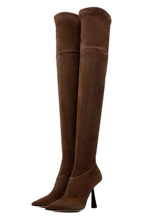 Женские замшевые ботфорты bryson 100 JIMMY CHOO коричневого цвета, арт. BRYS0N 100/SSU   Фото 1 (Материал внутренний: Натуральная кожа; Каблук тип: Шпилька; Подошва: Плоская; Материал внешний: Замша; Каблук высота: Высокий; Высота голенища: Высокие)