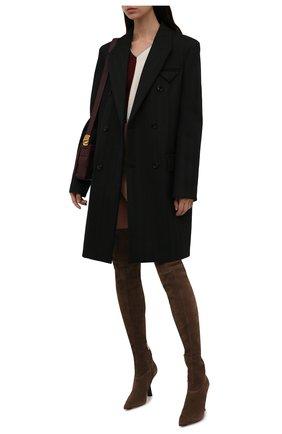 Женские замшевые ботфорты bryson 100 JIMMY CHOO коричневого цвета, арт. BRYS0N 100/SSU   Фото 2 (Материал внутренний: Натуральная кожа; Каблук тип: Шпилька; Подошва: Плоская; Материал внешний: Замша; Каблук высота: Высокий; Высота голенища: Высокие)