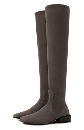 Женские замшевые ботфорты BRUNELLO CUCINELLI серого цвета, арт. MZSSC2024 | Фото 1 (Подошва: Плоская; Материал внутренний: Натуральная кожа; Высота голенища: Высокие; Каблук высота: Низкий; Каблук тип: Устойчивый; Материал внешний: Замша)