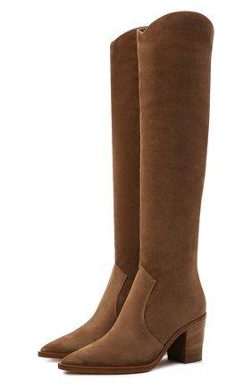 Женские замшевые ботфорты GIANVITO ROSSI светло-коричневого цвета, арт. G80317.70CU0.C45BISQ   Фото 1 (Подошва: Плоская; Материал внутренний: Натуральная кожа; Каблук высота: Высокий; Высота голенища: Высокие; Каблук тип: Устойчивый; Материал внешний: Замша)