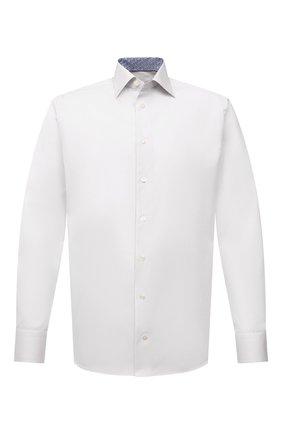 Мужская хлопковая сорочка ETON белого цвета, арт. 1000 02464 | Фото 1 (Манжеты: На пуговицах; Воротник: Кент; Рукава: Длинные; Длина (для топов): Стандартные; Рубашки М: Slim Fit; Материал внешний: Хлопок; Стили: Классический; Случай: Формальный; Принт: Однотонные)