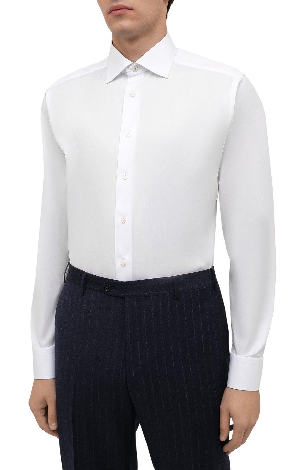 Мужская хлопковая сорочка ETON белого цвета, арт. 1000 02464 | Фото 3 (Манжеты: На пуговицах; Воротник: Кент; Рукава: Длинные; Длина (для топов): Стандартные; Рубашки М: Slim Fit; Материал внешний: Хлопок; Стили: Классический; Случай: Формальный; Принт: Однотонные)