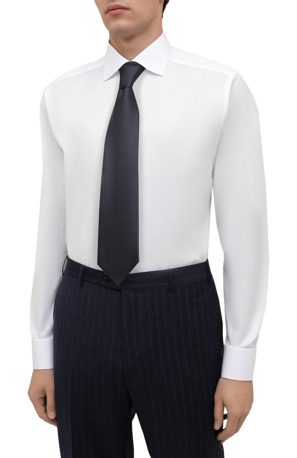 Мужская хлопковая сорочка ETON белого цвета, арт. 1000 02464 | Фото 4 (Манжеты: На пуговицах; Воротник: Кент; Рукава: Длинные; Длина (для топов): Стандартные; Рубашки М: Slim Fit; Материал внешний: Хлопок; Стили: Классический; Случай: Формальный; Принт: Однотонные)