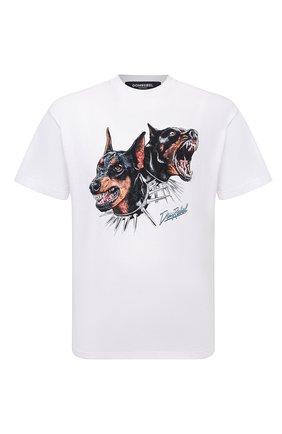 Мужская хлопковая футболка DOMREBEL белого цвета, арт. MPUPS/B0X T | Фото 1 (Материал внешний: Хлопок; Принт: С принтом; Рукава: Короткие; Стили: Гранж; Длина (для топов): Стандартные)