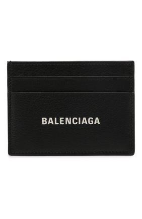 Мужской кожаный футляр для кредитных карт BALENCIAGA черного цвета, арт. 594309/2101A | Фото 1