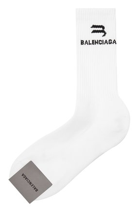 Мужские хлопковые носки BALENCIAGA белого цвета, арт. 659279/472B4 | Фото 1 (Материал внешний: Хлопок; Кросс-КТ: бельё)