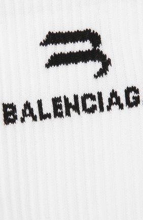 Мужские хлопковые носки BALENCIAGA белого цвета, арт. 659279/472B4 | Фото 2 (Материал внешний: Хлопок; Кросс-КТ: бельё)