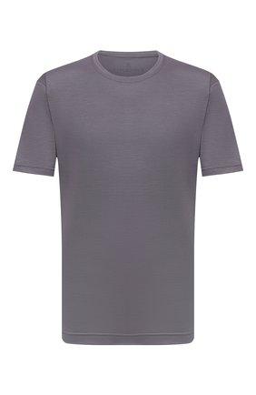 Мужская шерстяная футболка CAPOBIANCO серого цвета, арт. 11M660.JE00./58-60   Фото 1 (Материал внешний: Шерсть; Рукава: Короткие; Длина (для топов): Стандартные; Принт: Без принта; Стили: Кэжуэл)