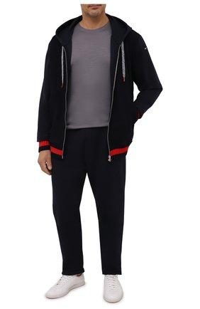 Мужская шерстяная футболка CAPOBIANCO серого цвета, арт. 11M660.JE00./58-60   Фото 2 (Материал внешний: Шерсть; Рукава: Короткие; Длина (для топов): Стандартные; Принт: Без принта; Стили: Кэжуэл)