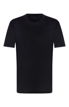 Мужская шерстяная футболка CAPOBIANCO темно-синего цвета, арт. 11M660.JE00./58-60 | Фото 1 (Рукава: Короткие; Материал внешний: Шерсть; Длина (для топов): Стандартные; Принт: Без принта; Стили: Кэжуэл; Big sizes: Big Sizes)