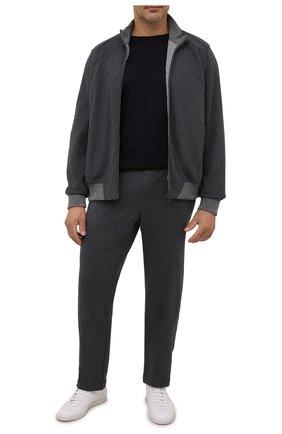 Мужская шерстяная футболка CAPOBIANCO темно-синего цвета, арт. 11M660.JE00./58-60 | Фото 2 (Рукава: Короткие; Материал внешний: Шерсть; Длина (для топов): Стандартные; Принт: Без принта; Стили: Кэжуэл; Big sizes: Big Sizes)