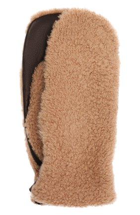 Женские меховые варежки DROME бежевого цвета, арт. DPA205P/DA1726   Фото 1 (Материал: Натуральный мех; Женское Кросс-КТ: варежки)