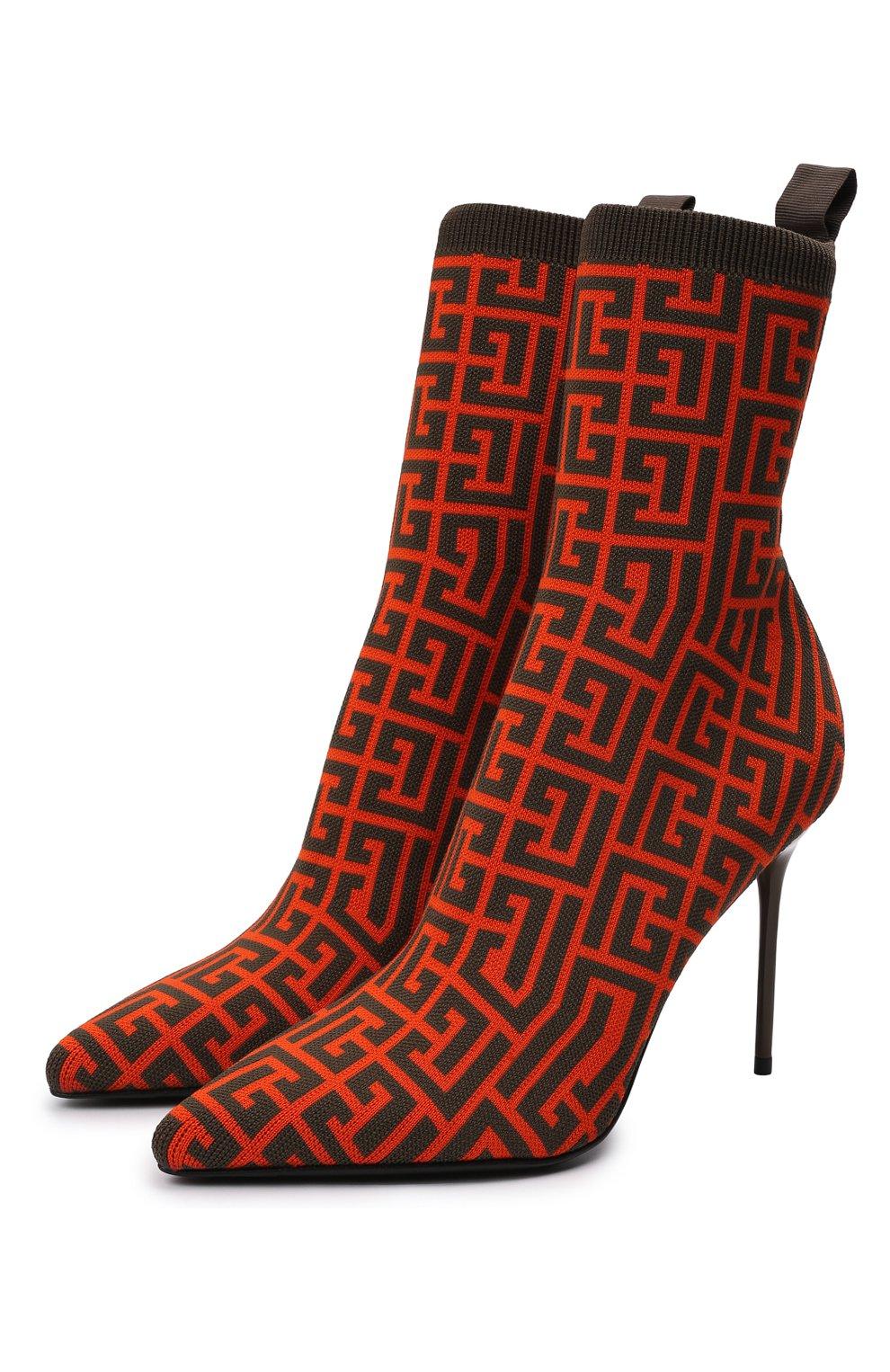 Женские текстильные ботильоны BALMAIN оранжевого цвета, арт. WN0TA680/TMGK   Фото 1 (Материал внешний: Текстиль; Каблук высота: Высокий; Материал внутренний: Натуральная кожа; Каблук тип: Шпилька; Подошва: Плоская)