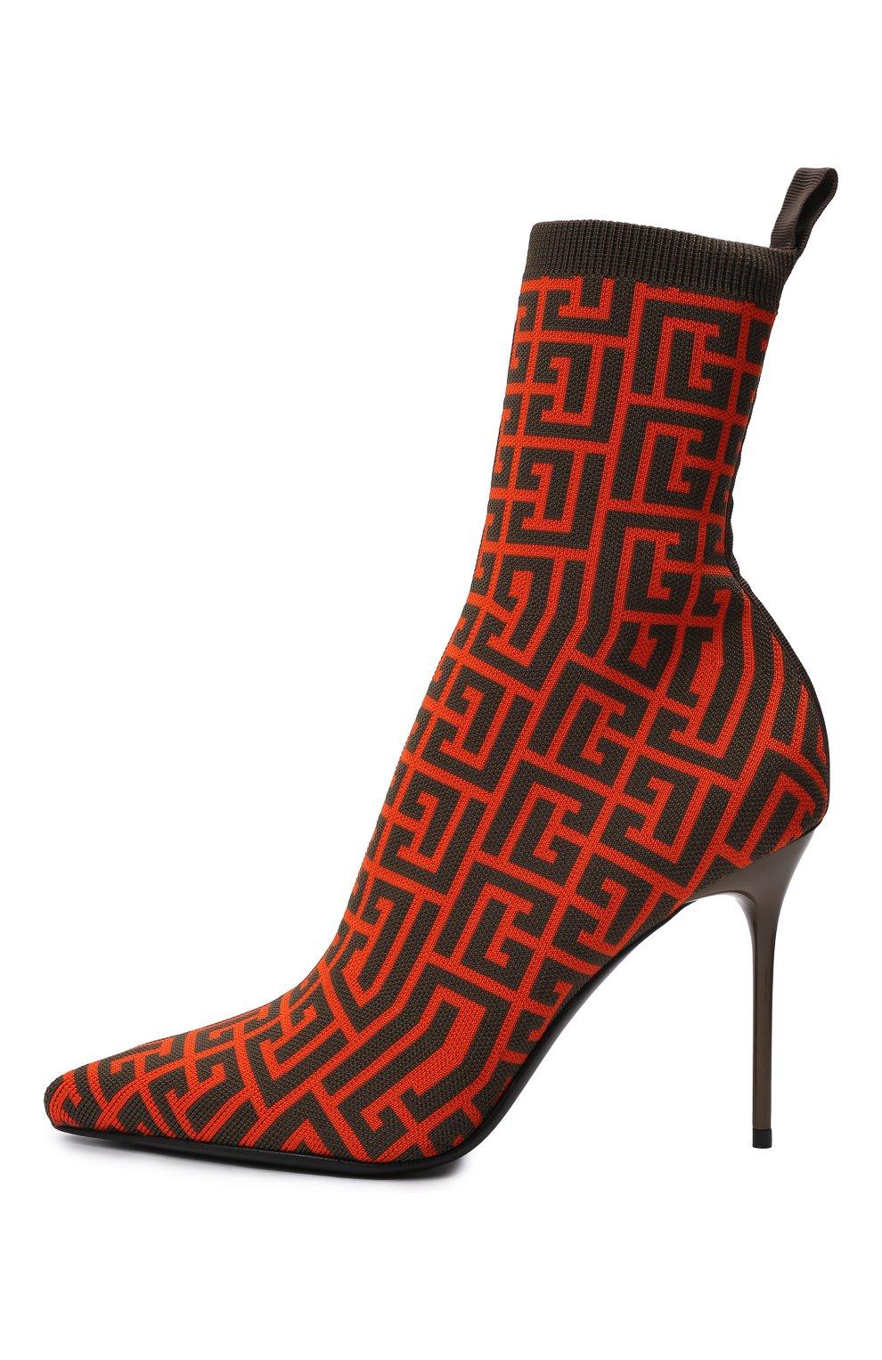 Женские текстильные ботильоны BALMAIN оранжевого цвета, арт. WN0TA680/TMGK   Фото 3 (Материал внешний: Текстиль; Каблук высота: Высокий; Материал внутренний: Натуральная кожа; Каблук тип: Шпилька; Подошва: Плоская)