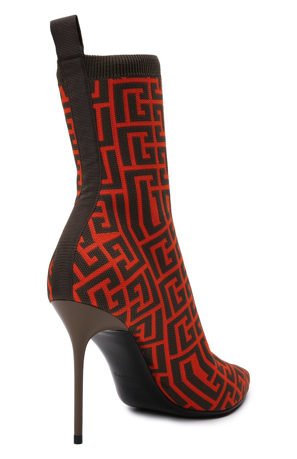 Женские текстильные ботильоны BALMAIN оранжевого цвета, арт. WN0TA680/TMGK   Фото 4 (Материал внешний: Текстиль; Каблук высота: Высокий; Материал внутренний: Натуральная кожа; Каблук тип: Шпилька; Подошва: Плоская)