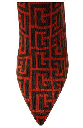 Женские текстильные ботильоны BALMAIN оранжевого цвета, арт. WN0TA680/TMGK   Фото 5 (Материал внешний: Текстиль; Каблук высота: Высокий; Материал внутренний: Натуральная кожа; Каблук тип: Шпилька; Подошва: Плоская)