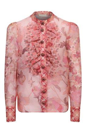 Женская блузка изо льна и шелка ZIMMERMANN розового цвета, арт. 2305TC0N | Фото 1 (Материал внешний: Шелк, Лен; Длина (для топов): Стандартные; Рукава: Длинные; Стили: Романтичный; Принт: С принтом; Женское Кросс-КТ: Блуза-одежда)